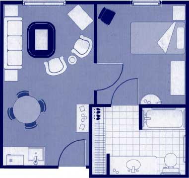 """One-Bedroom Floor Plans   20'7"""" x 19'3"""""""